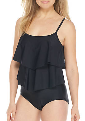 Solid Double Tier One-Piece Swimsuit