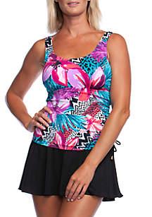 Maxine of Hollywood Serengeti Stripe Adjustable Swim Dress with Tummy Control