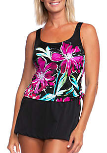 Maxine of Hollywood In Full Bloom Faux Skirtini Swim Dress