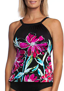 Maxine of Hollywood In Full Bloom High Neck Swim Top