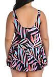 Plus Size   Palm Printed Swim Dress