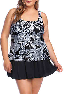 215d01987f3d6 Maxine of Hollywood Plus Size Linework Tank Swimsuit Dress ...