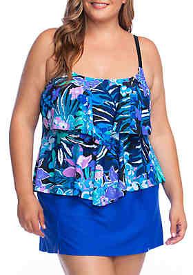 60374eed805 Maxine of Hollywood Plus Size Secret Garden Swim Dress ...