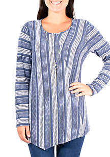 Biader Print Splice Top with Necklace