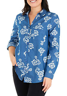 Kim Rogers® Chambray Water Floral Top