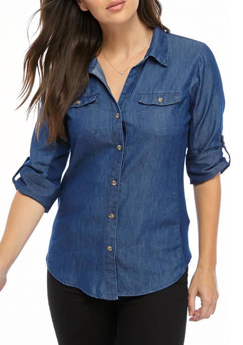 Kim Rogers® Knit To Fit Denim Top