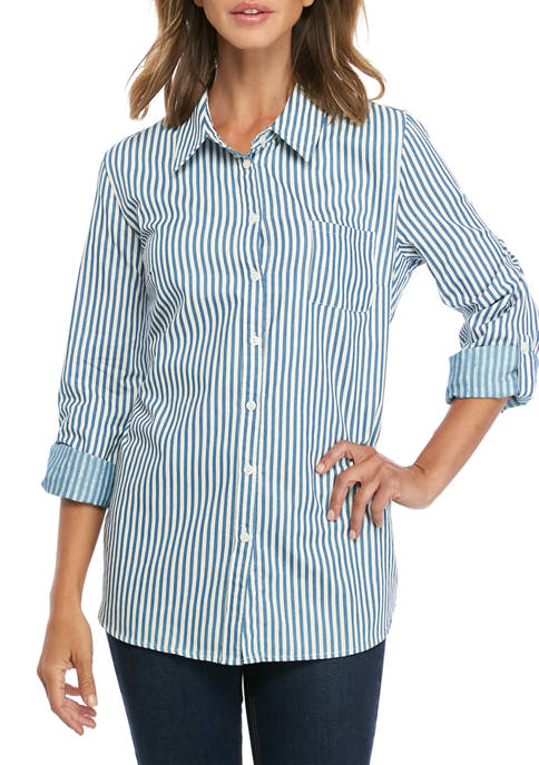 Kim Rogers® Womens Chambray Stripe Roll Sleeve Shirt