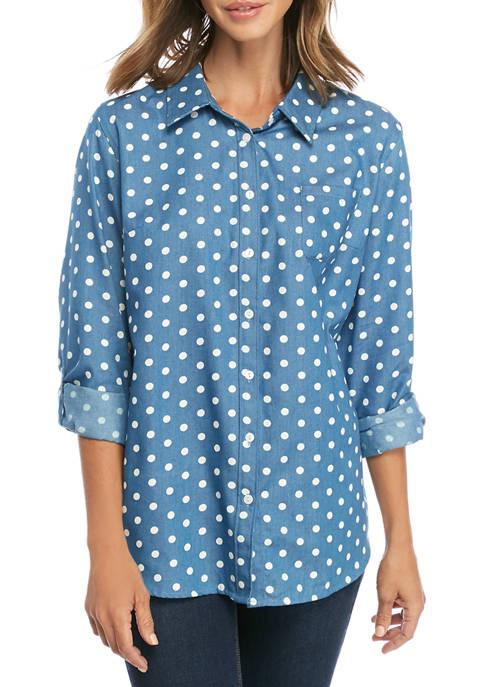 Kim Rogers® Womens Chambray Dot Roll Sleeve Shirt