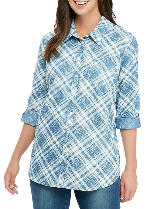 Kim Rogers® Womens Chambray Plaid Roll Sleeve Shirt