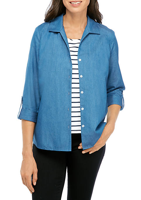 Kim Rogers® Womens 3/4 Sleeve Stripe Inset Chambray