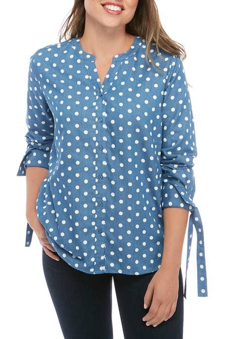 Kim Rogers® Womens Long Sleeve Tie Cuff Printed