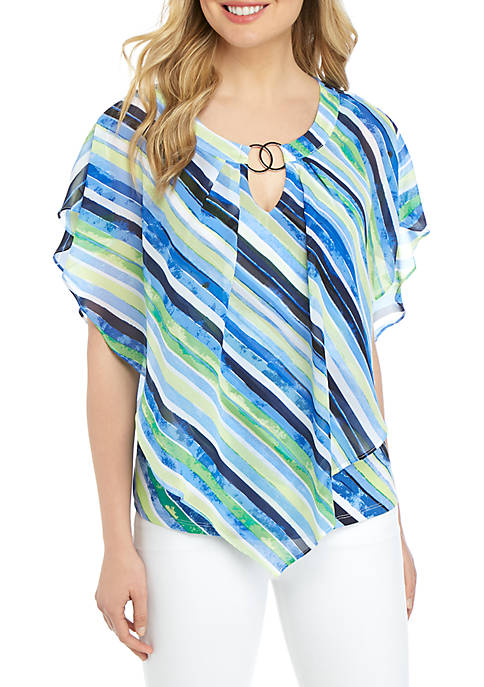 Ring Neck Poncho Top