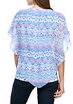 Heat Set Poncho Top With Rounded Hem