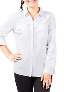 Roll-Tab Sleeve Flap Pocket Blouse