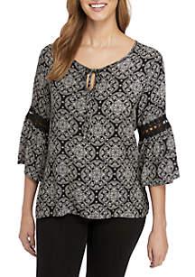 Print 3/4 Crochet Bell Sleeve Peasant Top