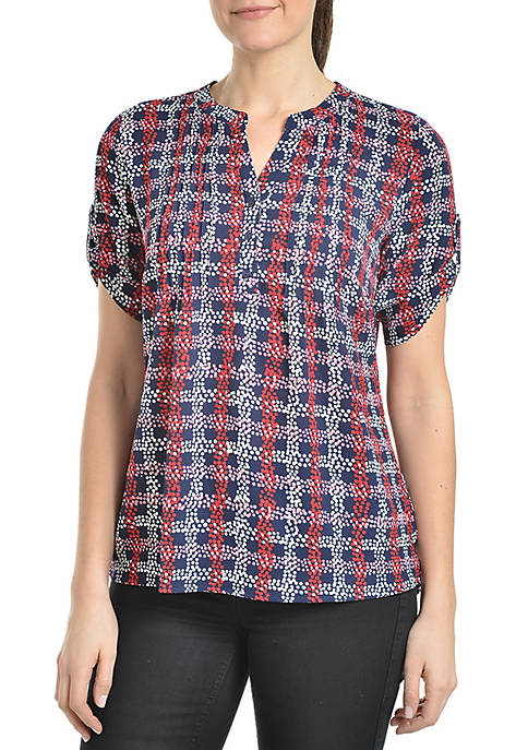 Kim Rogers® Short Sleeve Pintuck Plaid Shirt