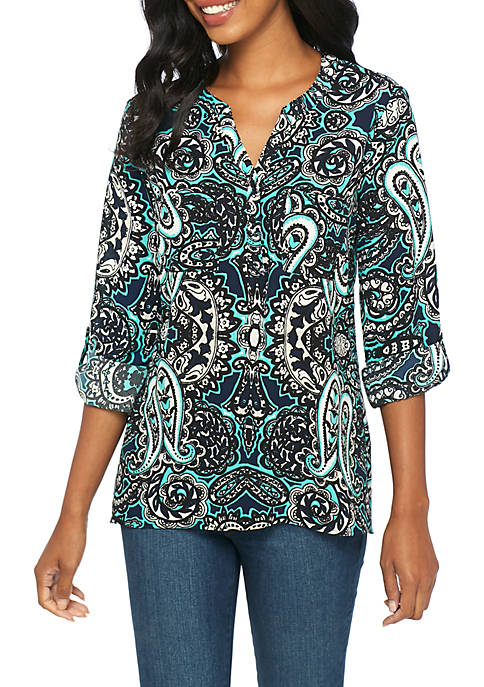 Kim Rogers® Pebble Crepe Turquoise Popover Blouse