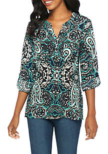 Pebble Crepe Turquoise Popover Blouse