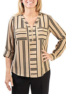 Stripe Zip-Front Flap Pocket Long Sleeve Top