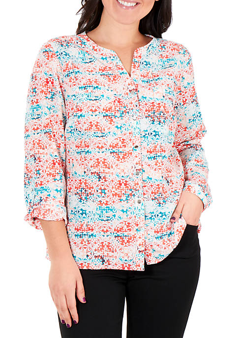 Kim Rogers® Printed Mandarin Collar Utility Top