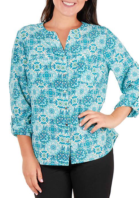 Kim Rogers® Utility Printed Mandarin Collar Top