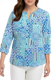 Kim Rogers® Printed Crinkle Utility Shirt