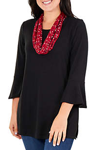 Kim Rogers® 3/4 Bell Sleeve Top with Scarf