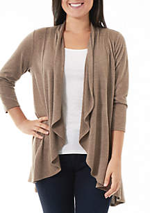 Long Rounded Draped-Front Cardigan