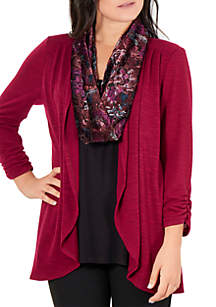 Hacci 3Fer Top with Velvet Scarf
