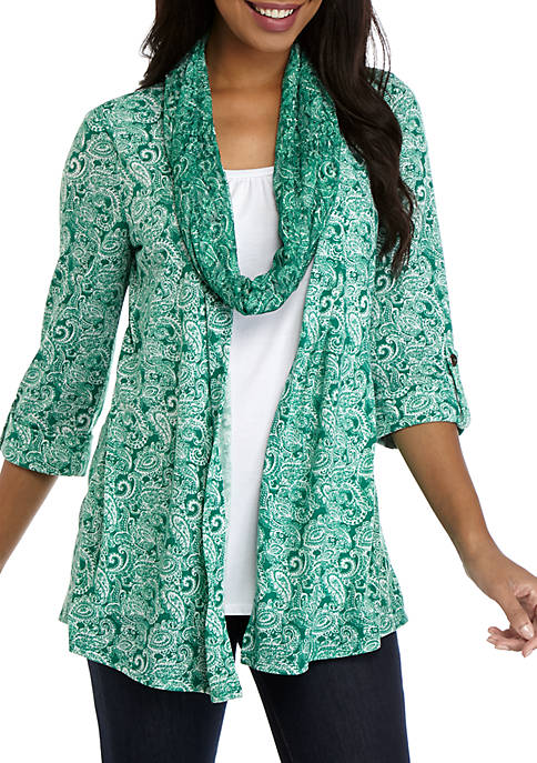 Kim Rogers® Womens 3/4 Sleeve Paisley 3Fer Top