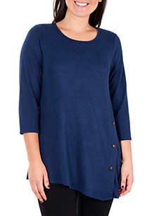 Asymmetrical Hem Button Top