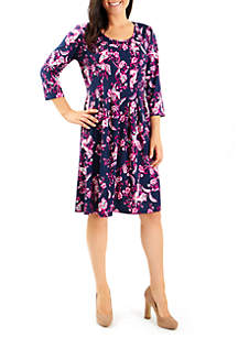 Puff Print Pleat Dress