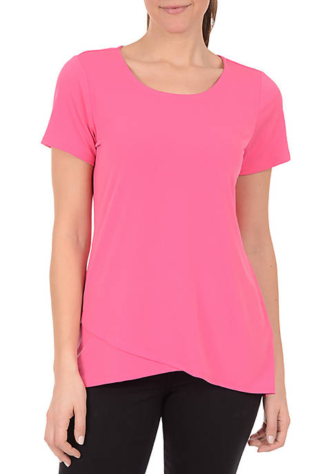 Kim Rogers® Short Sleeve Asymmetric Hem Layer Top