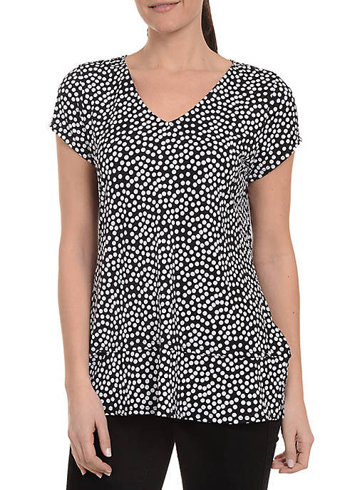 Kim Rogers® Cap Sleeve V-Neck High Low Hem