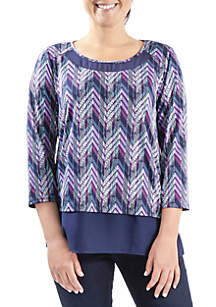 Chiffon Trim Print 3/4 Sleeve Top