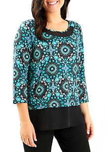 Turquoise Chiffon Bottom Tunic