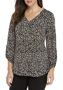 Print Pleat-Front 3/4 Sleeve V Neck Top