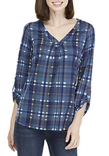 Plaid Pleat Front 3/4 Sleeve V-Neck Top