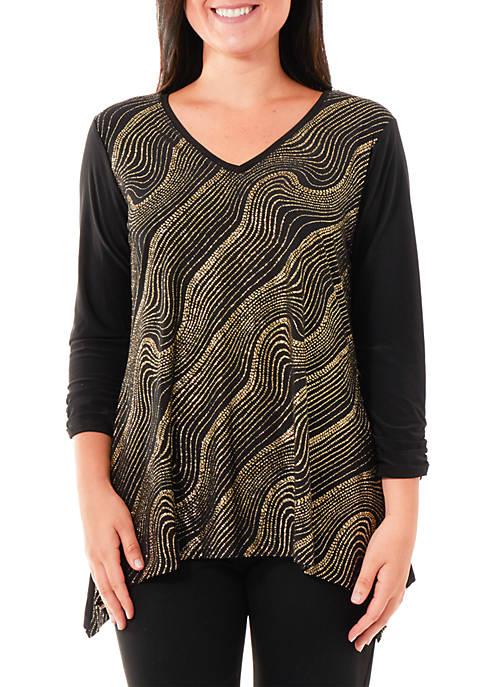 Kim Rogers® Shark Bite Swirl Print Top