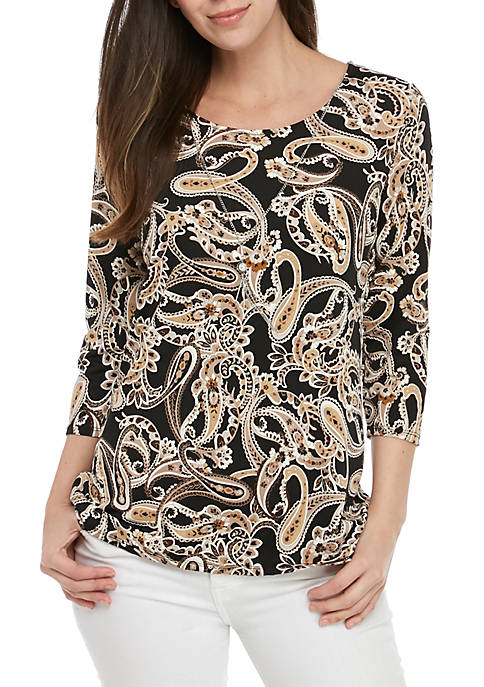 Kim Rogers® 3/4 Sleeve Necklace Top with Puff