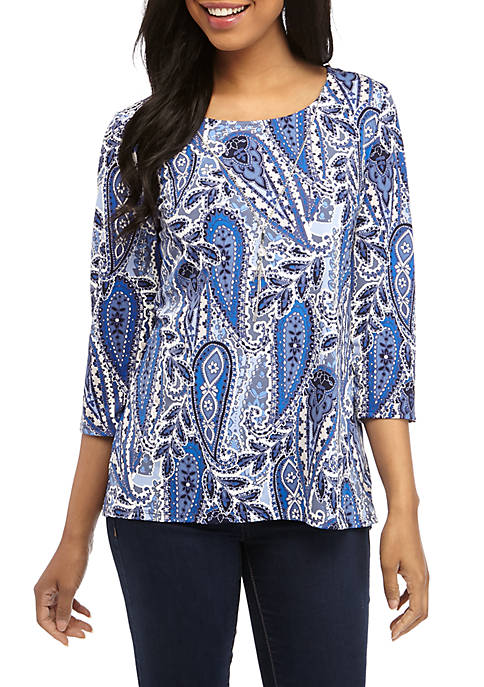 Kim Rogers® Puff Print 3/4 Sleeve Top with