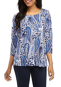 Kim Rogers® Puff Print 3/4 Sleeve Top with Necklace