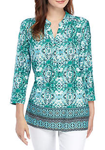 Kim Rogers® Printed Henley Top