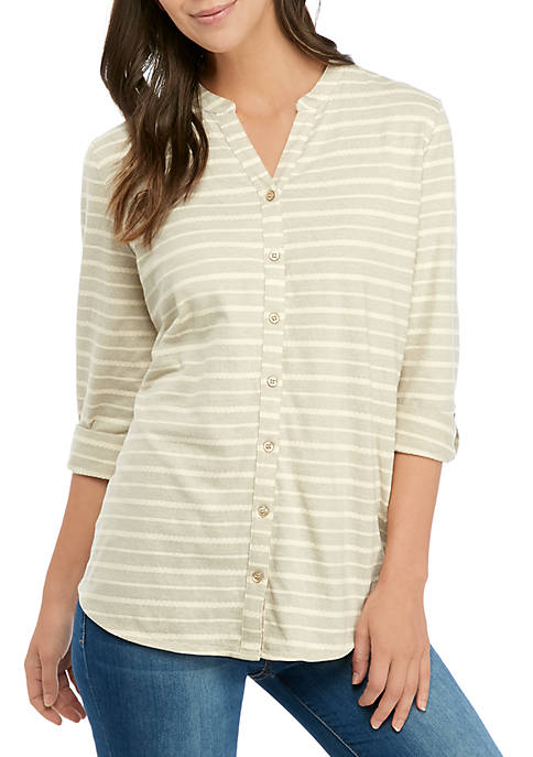 3/4 Roll Sleeve Textured Stripe Top