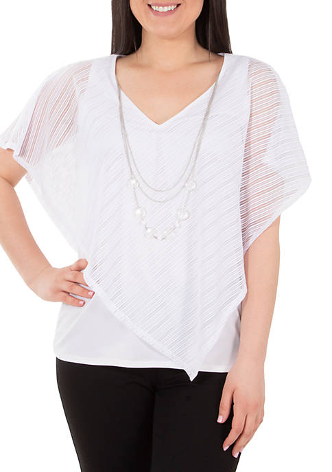 Burn Out Poncho with Necklace