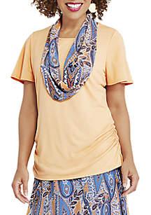 Kim Rogers® Flutter Sleeve Scarf Top