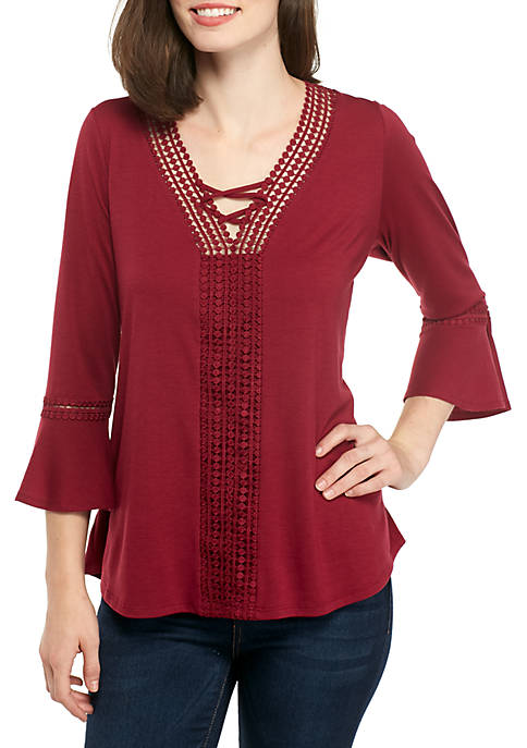 Kim Rogers® Bell Sleeve Crossover V-Neck Top
