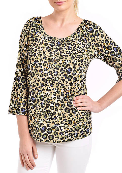 Kim Rogers® Three-Quarter Sleeve Printed Peasant Top