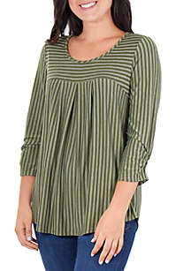 Tonal Stripe Pleated Top