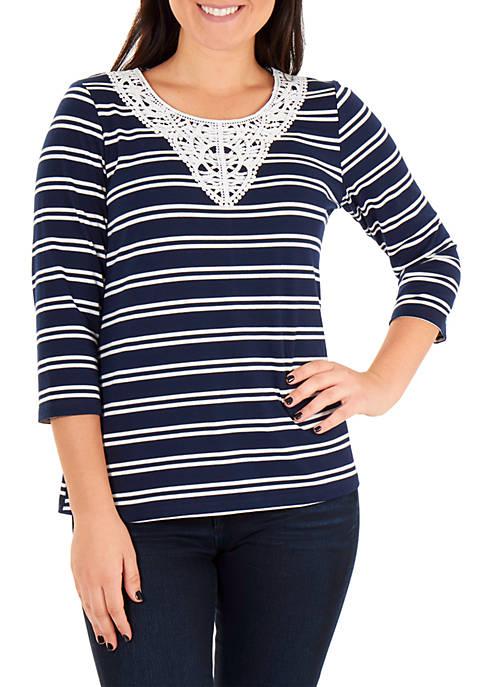 Kim Rogers® Crochet Trim Stripe Top
